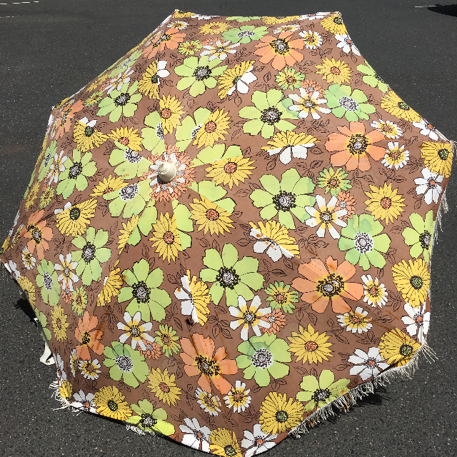 UMB0118 Umbrella, Beach - vintage floral, brown and yellow with fringing $22.50