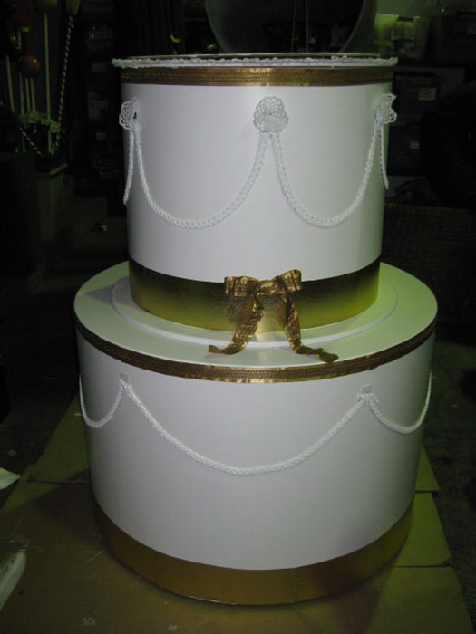 CAK0001 CAKE, White Oversize Jumping Out Cake 1.2m high $150