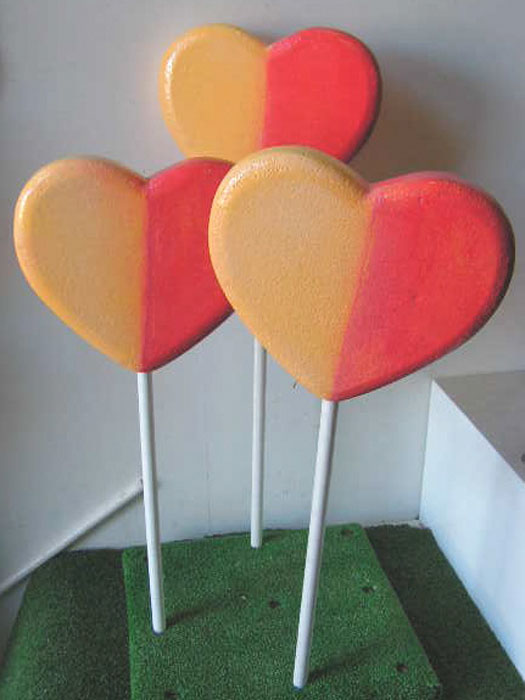 LOL0004 LOLLY, Heart Shaped Red & Yellow 30cm Dia $18.75