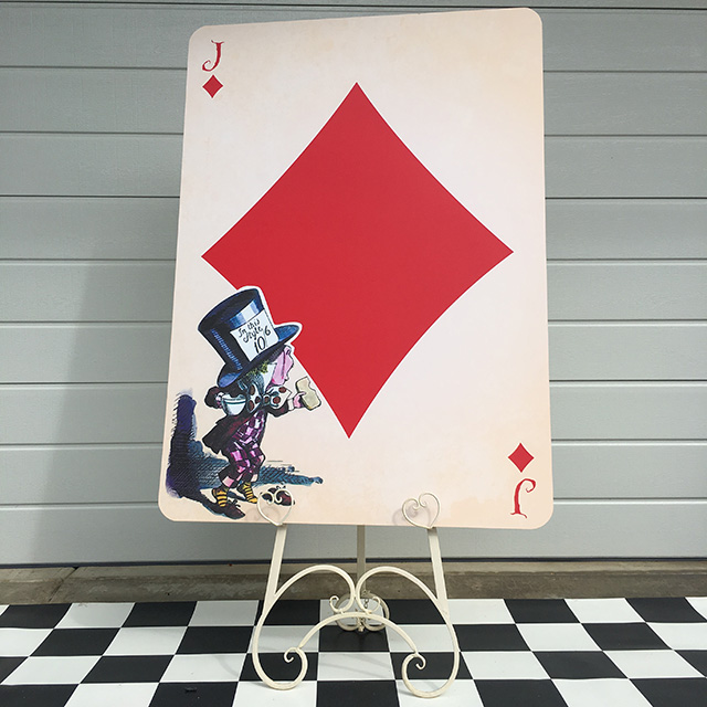 PLA0055 PLAYING CARD, Mad Hatter Jack Diamonds Oversize 1.2m H $30