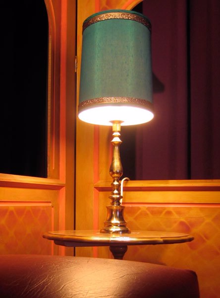 Lamp - Brass Table Lamp with Blue Shade