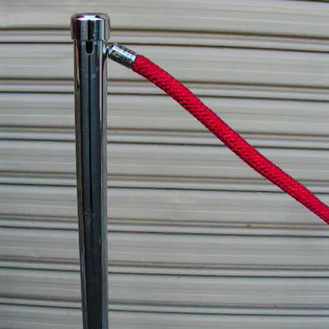 BAR0501 BARRIER POLE, Chrome $30 & BAR0550 BARRIER ROPE, Red $8.75