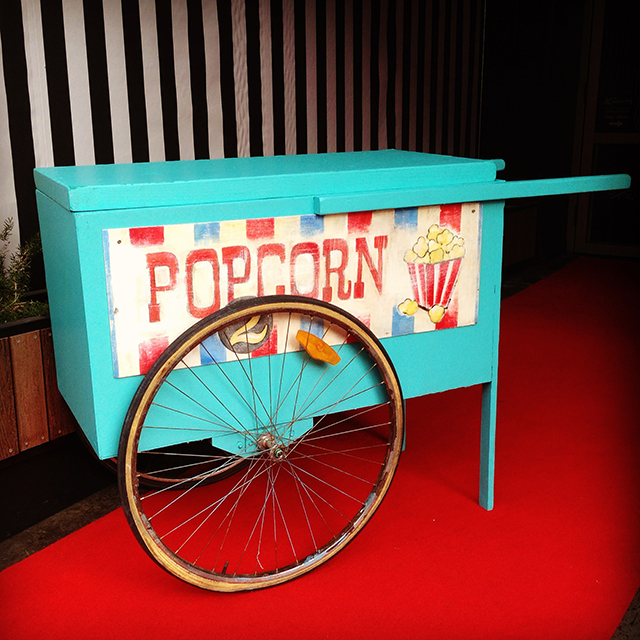 CAR0004 CART, Aqua - Small $137.50 & SIG0504 SIGN, Cart Sign - Popcorn $30