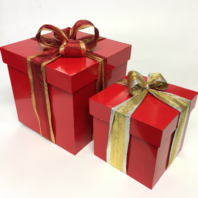 BOX, Red Wooden Gift Box w Lid 25cm (BOX0104) $15 & 18cm (BOX0105) $12.50