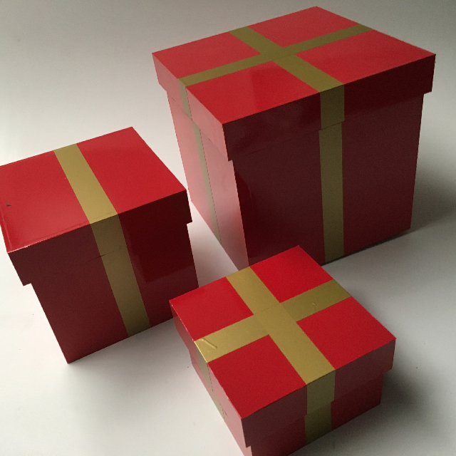 BOX0111 BOX, Wooden Gift Box w Lid (Set Of 3: 30, 25, 18cm) - Red Vinyl Wrap w Gold Band $30