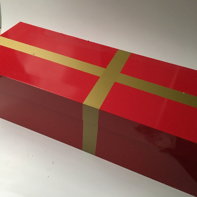 BOX0108 BOX, Wooden Gift Box w Lid - Red Vinyl Wrap w Gold Band (1) $15