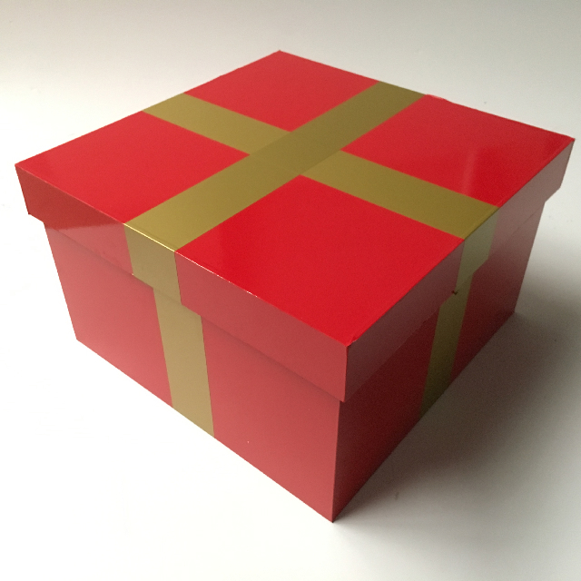 BOX0109 BOX, Wooden Gift Box w Lid - Red Vinyl Wrap w Gold Band (2) $15