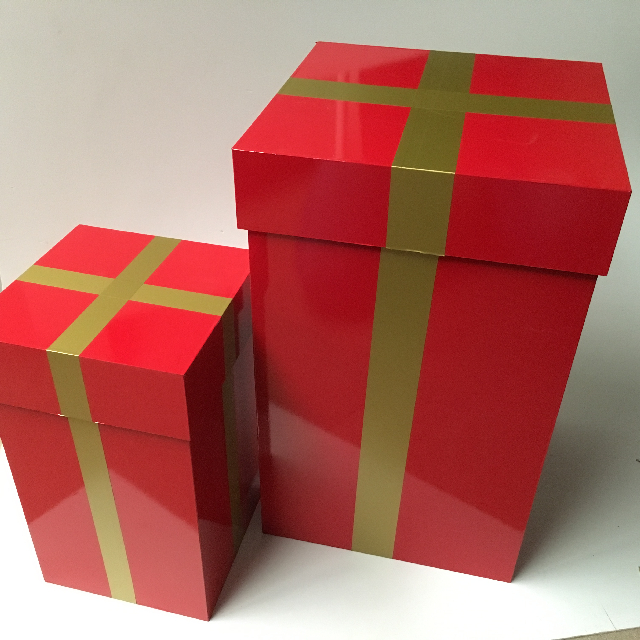 BOX0110 BOX, Wooden Gift Box w Lid - Red Vinyl Wrap w Gold Band (3) $15