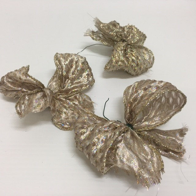 BOW0052 BOW, Gold Taupe Glitter $0.15