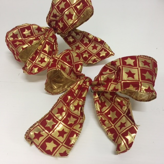 BOW0054 BOW, Red Gold Star $0.25