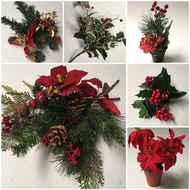 CHR0050 CHRISTMAS DECOR, Assorted Foliage & Florals $3.75