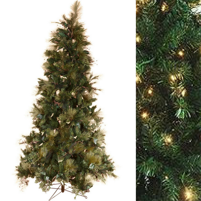 CHR0001 CHRISTMAS TREE, Large Green Full Tree w Leaf Detail (Internal Fairy Lights) - 2.1m H $187.50