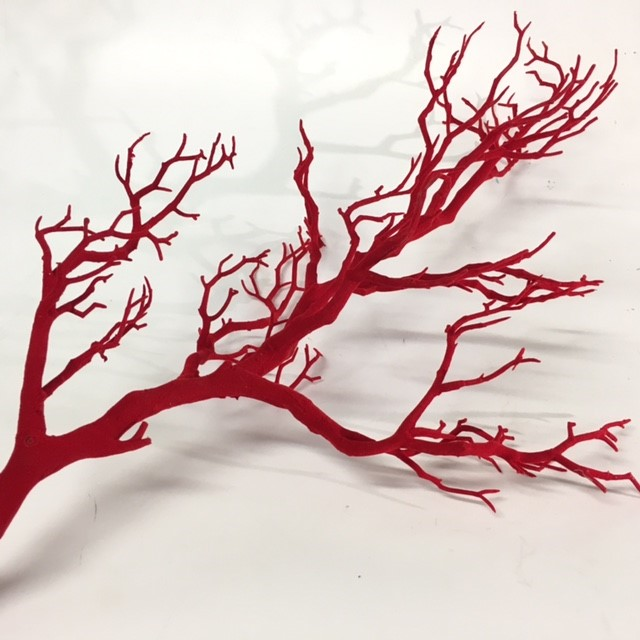 COR0020 CORAL BRANCH, Red Flocked 60-65cm $6.25
