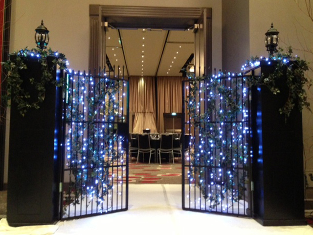 Christmas Setup - Gates w LEDs and Coach Lights