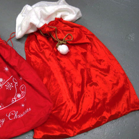 SAN0015 SANTA SACK, Large Red White Velveteen $7.50