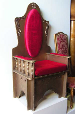 THR0100 THRONE, Gold with Red Velvet Padding 1.5m H $112.50