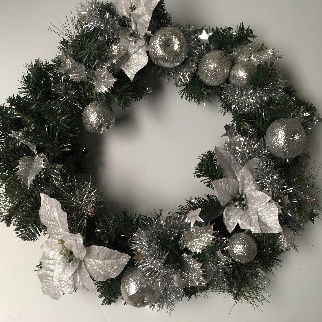 WRE0007 WREATH, Green w Silver Decos 50cm Diameter $18.75