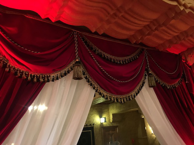 CUR0050 CURTAIN SWAG, Red Velvet w Fringing 3m (W) $100