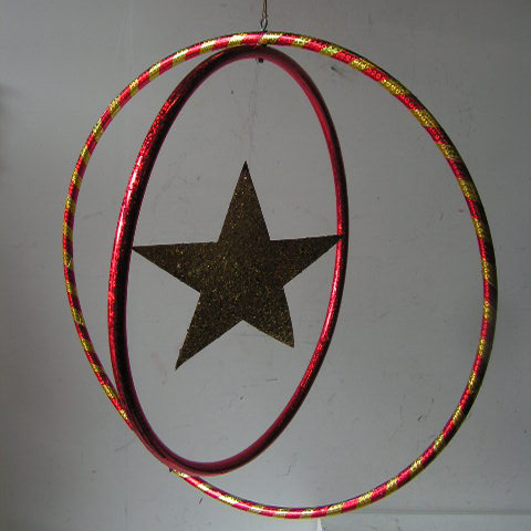 HUL0001 HULA HOOP, Double Hanging Red & Gold $12.50