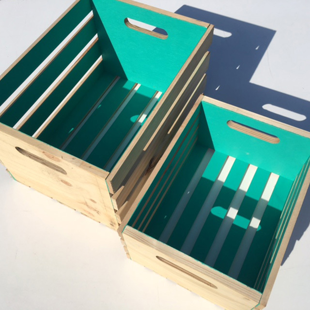 CRA0045 CRATE, Medium Slatted - Aqua (36W x 48L x 38cm H) $18.75 (pictured w Small $15)