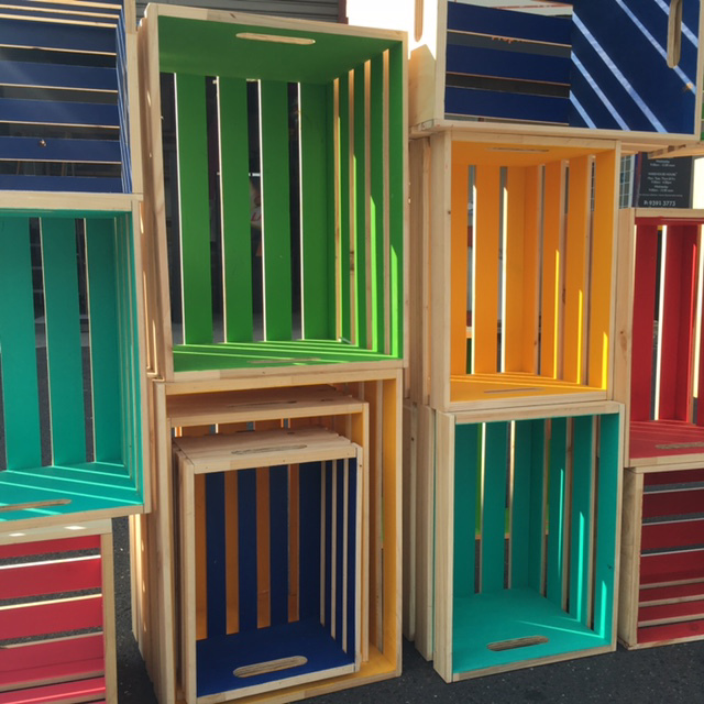Assorted Slatted and Painted Crates