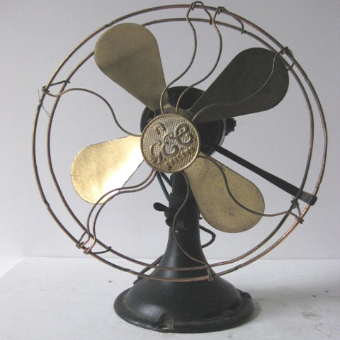 FAN0001 FAN, Table Fan 1920s - Black GEC Gold Blades $22.50