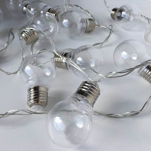LIG0203 LIGHTING, Festoon LED Party Light Set Clear (20 Plastic Globe) 3.9m $10