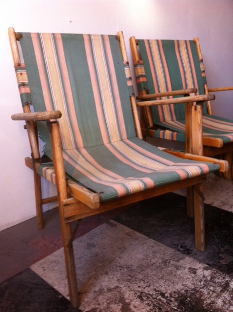 CHA0553 CHAIR, Steamer Chair - Green, Yellow Vintage $22.50