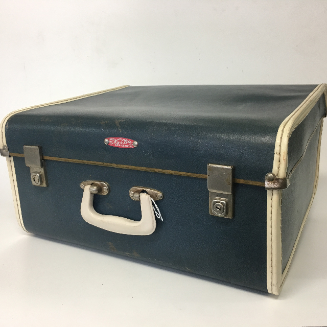 SUI0152 SUITCASE, Vintage Medium Blue w White Trim Nu-Elite $18.75
