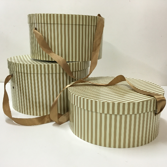 BOX0005 BOX, Hat Box Set Of 3 - Gold Stripe $11.25