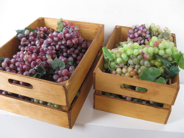 CRA0009 CRATE, Small - Display Crate Stained Natural (41x31x19cm H) $7.50 (w optional grapes)