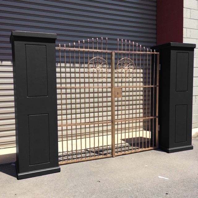 GAT0001 GATES, Black Pillars & Gold Gates Freestanding 2.9m W x 1.8m H $150