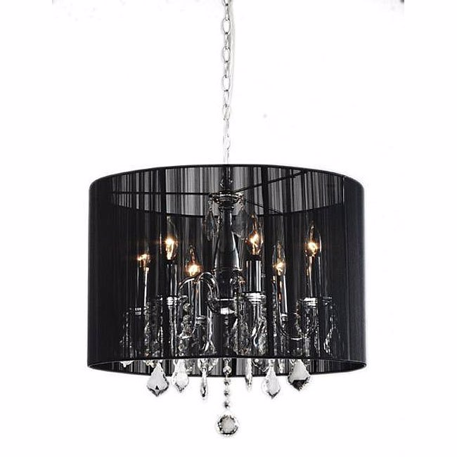 LIG0117 LIGHT, Hanging Chandelier - Black Organza 5 light, 500mmD (wired) $100