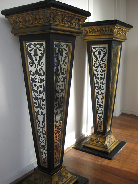 PED0001 PEDESTAL, Baroque Black & Gold w Mirror Panels 1.2m H $87.50