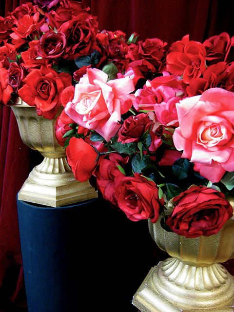 French Styling - Red & Pink roses in Gold Urn