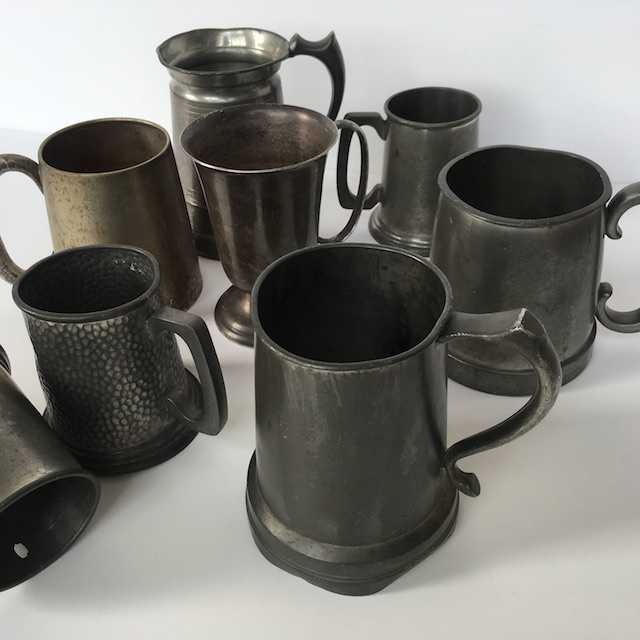 TAN0001 TANKARD, Beer - Pewter Assorted 10-15cm $3.75