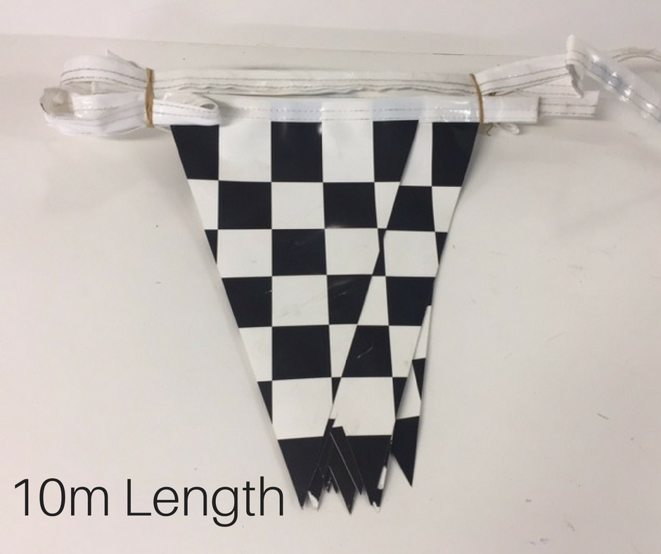 BUN0021 BUNTING, Grand Prix Vinyl Triangle Flags - Black & White Check (10m L) $12.50
