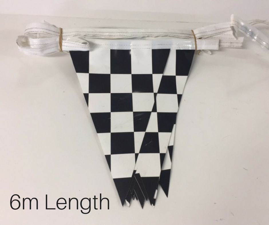 BUN0023 BUNTING, Grand Prix Vinyl Triangle Flags - Black & White Check (6m L) $7.50