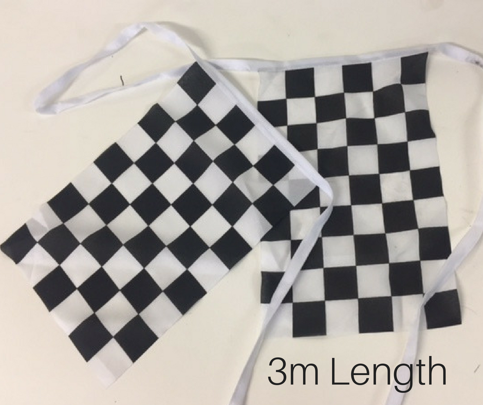 BUN0019 BUNTING, Grand Prix Fabric Square - Black & White Check 5m (10 Flags) $7.50