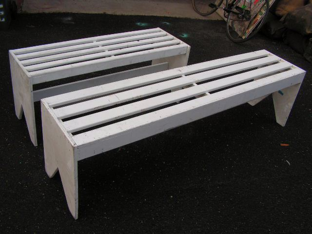 BENCH, Timber - White Slat Backless 1.2m (BEN0104) OR 1.8m (BEN0105) $50
