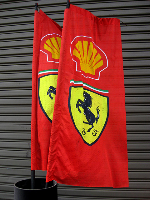 FLA0081 FLAG, Ferrari Shell on 2.4m H Poles - Red (Flag Size 60cm x 1.5m H) $25