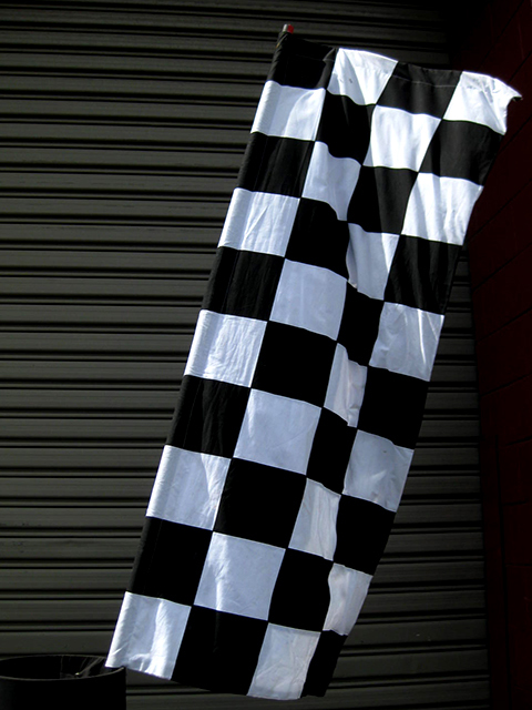 FLA0080 FLAG, Grand Prix on 2.4m H Poles - Black & White Check (Flag Size 60cm x 1.5m H) $25