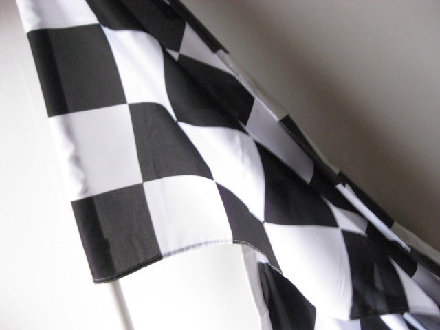 FLA0089 FLAG, Grand Prix - Black & White 90cm x 1.9m $7.50