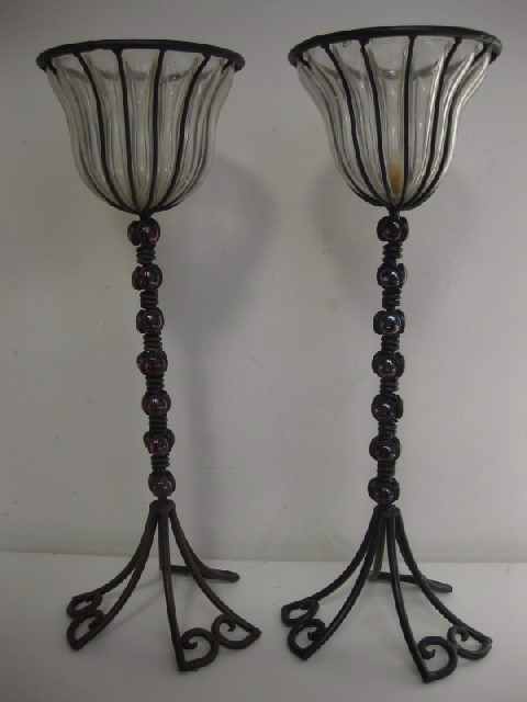 CAN0054 CANDLESTICK, Pair - Iron & Beaded 54cm H $15