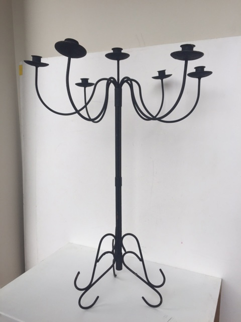 CAN0011 CANDELABRA, Standing Black 7 Arm (Fits Tapered Candles) 80cm High $15