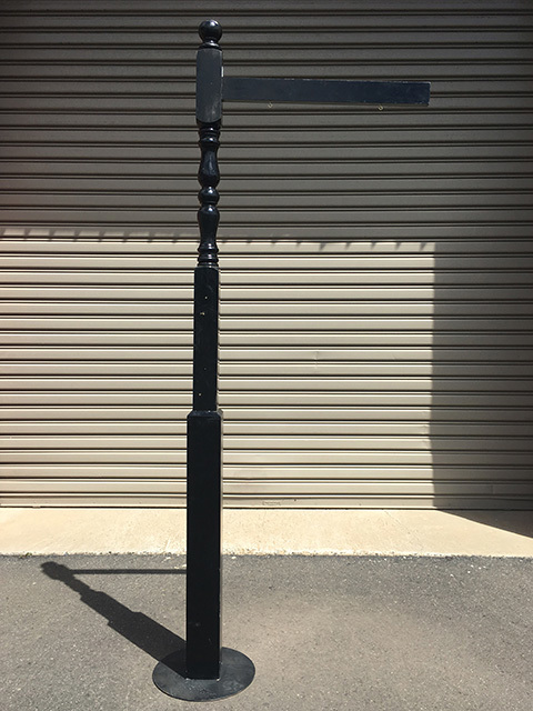SIG0413 SIGN POST, Turned Post Black 2.5m H w Straight 75cm Arm (Freestanding) $50