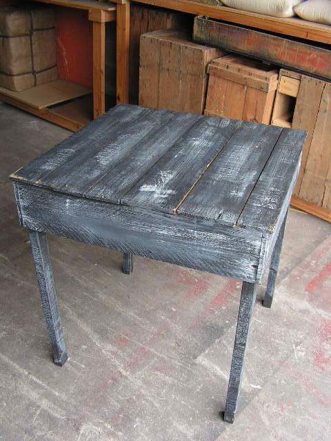 TAB0011 TABLE, Side Table - Rustic Ochre & Black 40x40x50cm H $22.50