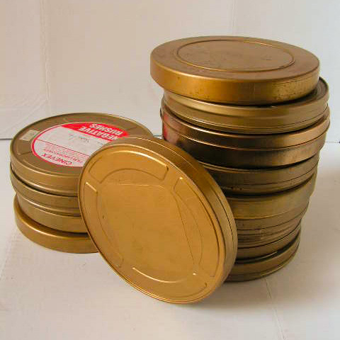 FIL0104 FILM CAN, Small Metal Originals 19cm (with assorted film labels) $8.75