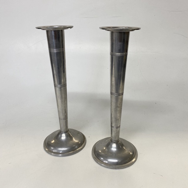 CAN0064 CANDLESTICK, Pair - Silver Fluted $12.50