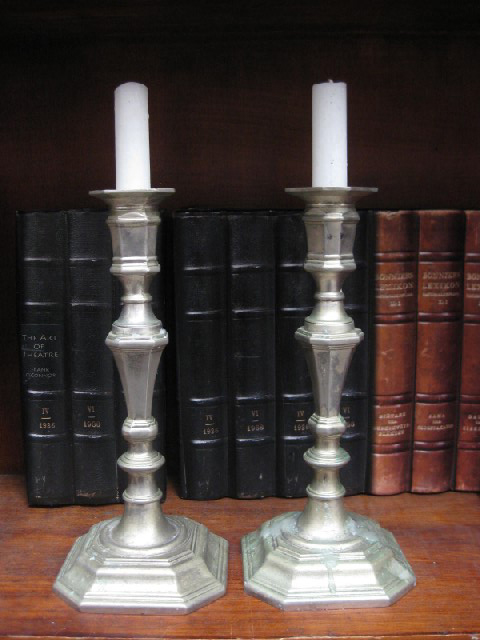 CAN0051 CANDLESTICK, Pair - Silver Hexagonal 26cm H $12.50